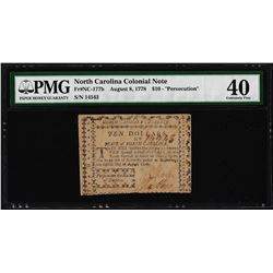 August 8, 1778 $10 North Carolina Colonial Currency Note PMG Extremely Fine 40