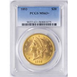 1893 $20 Liberty Head Double Eagle Gold Coin PCGS MS63+
