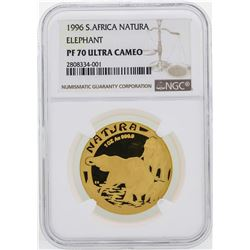 1996 South Africa Natura Elephant 1 oz Gold Coin NGC PF70 Ultra Cameo