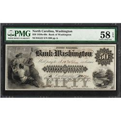1850s-60s $50 Bank of Washington, NC Obsolete Note PMG Choice About Unc. 58EPQ