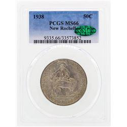 1938 New Rochelle Commemorative Half Dollar Coin PCGS MS66 CAC