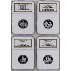 Lots of (4) Silver State Proof Quarter Coins NGC PF70 Ultra Cameo