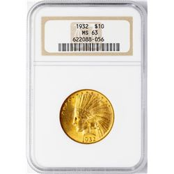 1932 $10 Indian Head Eagle Gold Coin NGC MS63