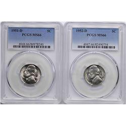 Lot of 1951-D & 1952-D Jefferson Nickel Coins PCGS MS66