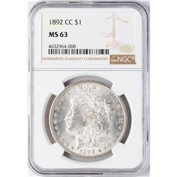 1892-CC $1 Morgan Silver Dollar Coin NGC MS63