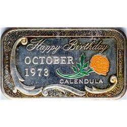 1973 Happy Birthday Enamel Silver Art Bar