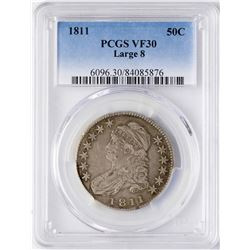 1811 Large 8 Capped Bust Half Dollar Coin PCGS VF30