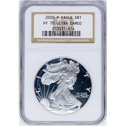 2000-P $1 Proof American Silver Eagle Coin NGC PF70 Ultra Cameo