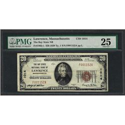 1929 $20 National Currency Note Lawrence, Massachusetts CH# 1014 PMG Very Fine 2