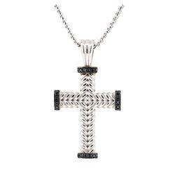 14KT White Gold 0.35 ctw Black Diamond Pendant with Chain