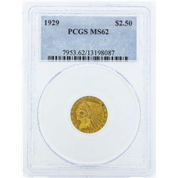 1929 $2 1/2 Indian Head Quarter Eagle Gold Coin PCGS MS62