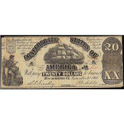 1861 $20 Confederate States of America Note