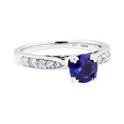 14KT White Gold 0.83 ctw Sapphire and Diamond Ring