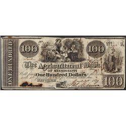 1839 $100 Agricultural Bank of Mississippi Natchez Obsolete Note