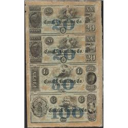 Uncut Sheet of 1800's Canal & Banking Co. Obsolete Notes