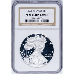 2008-W $1 Proof American Silver Eagle Coin NGC PF70 Ultra Cameo