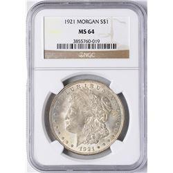1921 $1 Morgan Silver Dollar Coin NGC MS64