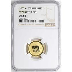 2007 $25 Australia Year of the Pig Gold Coin NGC MS68
