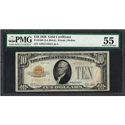 1928 $10 Gold Certificate Note Fr.2400 PMG About Uncirculated 55