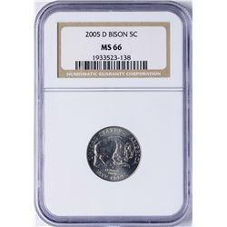 2005-D Bison Nickel Coin NGC MS66