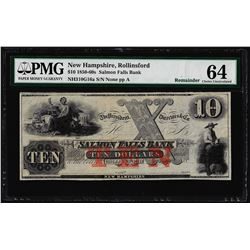 1850-60's $10 Salmon Falls Bank Obsolete Note PMG Choice Uncirculated 64
