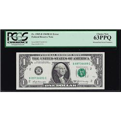 1969B $1 Federal Reserve Note Mismatched Serial Number ERROR PCGS Choice New 63P