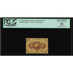 July 17, 1862 First Issue 5 Cent Fractional Currency Note PCGS About New 58 Appa