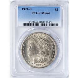 1921-S $1 Morgan Silver Dollar Coin PCGS MS64