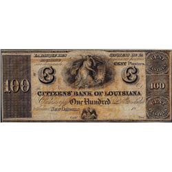 1800's $100 Citizens Bank of Louisiana Obsolete Note