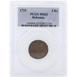 1723 Bohemia 3 Kreuzer Coin PCGS MS62