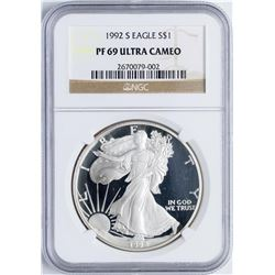 1992-S $1 Proof American Silver Eagle Coin NGC PF69 Ultra Cameo