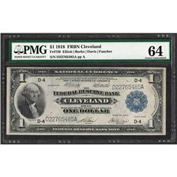 1918 $1 Federal Reserve Bank Note Cleveland Fr.720 PMG Choice Uncirculated 64