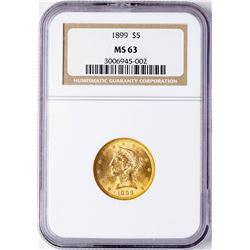 1899 $5 Liberty Head Half Eagle Gold Coin NGC MS63