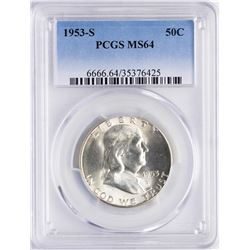 1953-S Franklin Half Dollar Coin PCGS MS64
