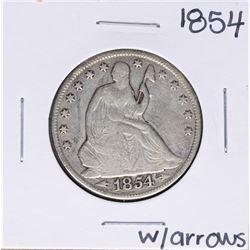 1854 w/ Arrows Seated Liberty Half Dollar Coin