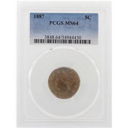 1887 Liberty V Nickel Coin PCGS MS64 Great Color