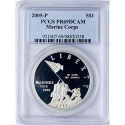 2005-P $1 Marines Silver Commemorative Coin PCGS PR69DCAM