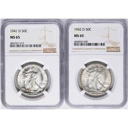 Lot of 1941-D & 1942-D Walking Liberty Half Dollar Coins NGC MS65