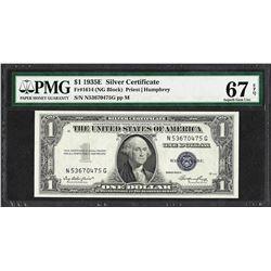 1935E $1 Silver Certificate Note Fr.1614 PMG Superb Gem Uncirculated 67EPQ