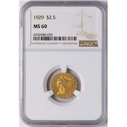 1929 $2 1/2 Indian Head Quarter Eagle Gold Coin NGC MS60