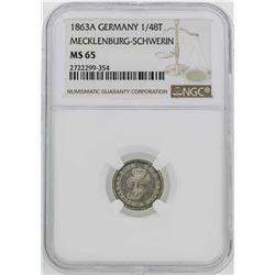 1863-A Germany Friedrich Franz II 1/48 Thaler Coin NGC MS65