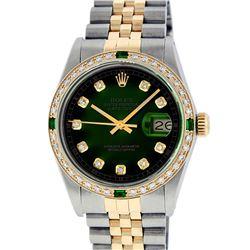 Rolex Men's Two Tone 14K Green Vignette Diamond & Emerald Datejust Wristwatch