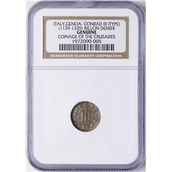 Coinage of the Crusades 1139-1339 Italy Genoa Conrad III Billion Denier NGC Genu