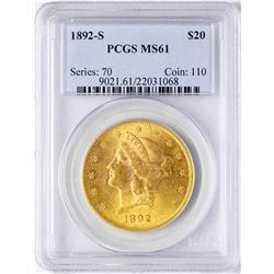 1892-S $20 Liberty Head Double Eagle Gold Coin PCGS MS61