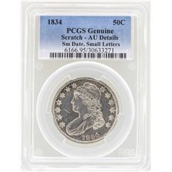 1834 Small Date Small Letters Capped Bust Half Dollar Coin PCGS AU Details