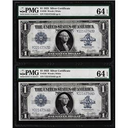 (2) Consecutive 1923 $1 Silver Certificate Note Fr.238 PMG Choice Uncirculated 6