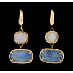 14KT Rose Gold Ladies Gemstone Dangle Earrings