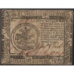 November 29, 1775 $5 Continental Currency Note
