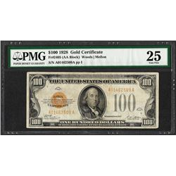 1928 $100 Gold Certificate Note Fr.2405 PMG Very Fine 25