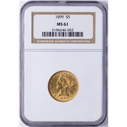 1899 $5 Liberty Head Half Eagle Gold Coin NGC MS61